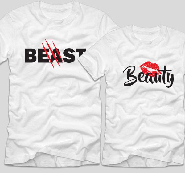 tricouri-albe-pentru-cupluri-beauty-and-the-beast