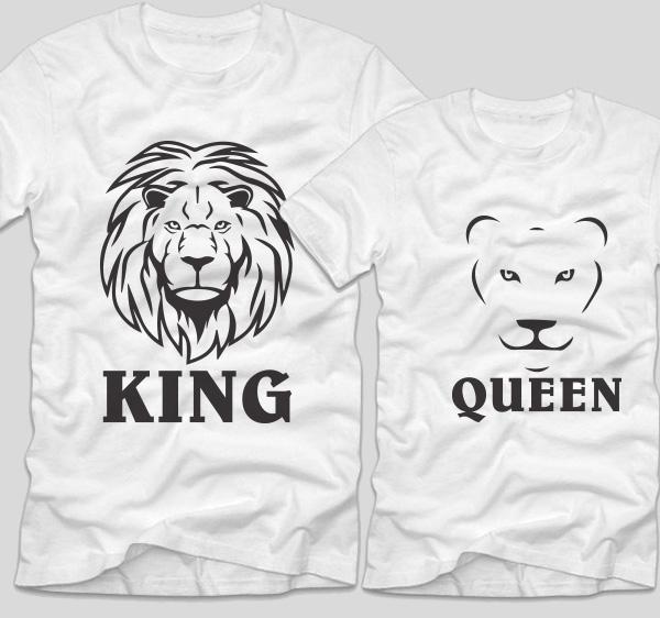 tricouri-albe-pentru-cupluri-cu-mesaje-lion-king-si-lion-queen