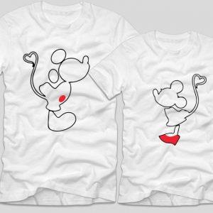 tricouri-albe-pentru-cupluri-mickiey-si-minnie-sarut-kiss