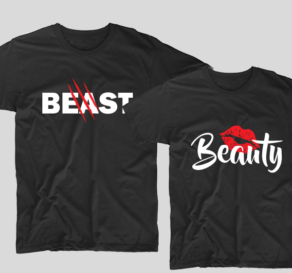 tricouri-negre-pentru-cupluri-beauty-and-the-beast