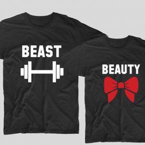 tricouri-negre-pentru-cupluri-cu-mesaje-beast-si-beauty
