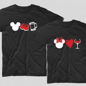 tricouri-negre-pentru-cupluri-cu-mesaje-mickey-si-minnie