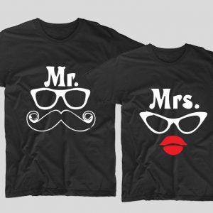 tricouri-negre-pentru-cupluri-cu-mesaje-mr-moustace-mustata-si-mrs-lips-buze