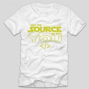 tricou-alb-cu-mesaj-haios-pentru-programatori-may-the-source-be-with-you