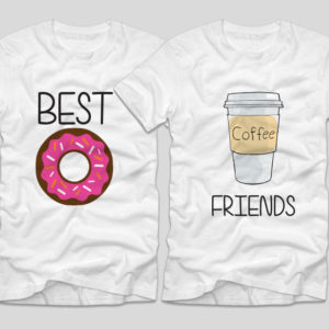 tricouri-albe-cu-mesaje-haioase-best-friends-donut-gogoasa-coffee-cafea