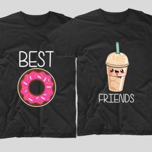 tricouri-negre-cu-mesaje-pentru-bff-donut-gogoasa-frappe-best-friends