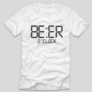 tricou-alb-cu-mesaj-haios-beer-o-clock-bere