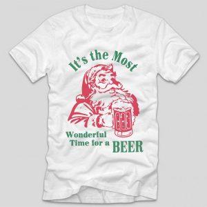 tricou-alb-cu-mesaj-haios-de-craciun-its-the-most-wonderful-time-for-a-beer