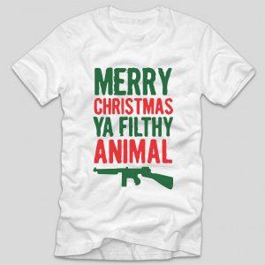 tricou-alb-cu-mesaj-haios-de-craciun-singur-acasa-home-alone-merry-christmas-ya-filthy-animal