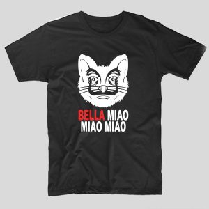 tricou-negru-casa-de-papel-bella-miao-miao-miao
