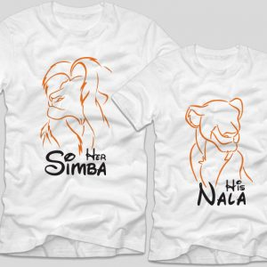 Tricouri-cupluri-albe-her-simba-his-nala