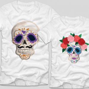 tricouri-halloween-cupluri---halloween-skulls
