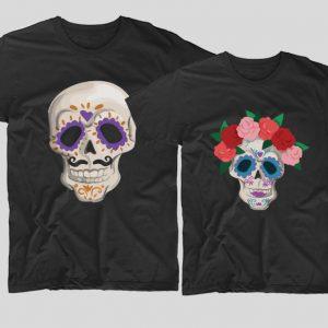 tricouri-halloween-cupluri--halloween-skulls-negre